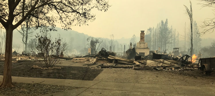 Home of a DriveSavers employee demolished by the Tubbs Fire in Sonoma County, California