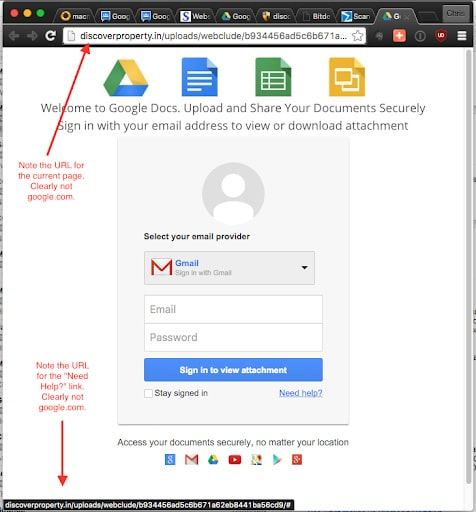Example of a phishing landing page